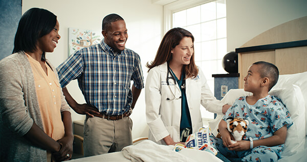 Inpatient pediatric care provides acute care hospitalization.
